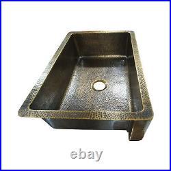 Single Bowl Hammered Front Apron Antique Brass Kitchen Sink
