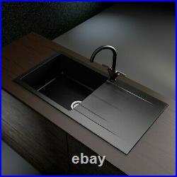 Single Bowl Inset Black Granite Kitchen Sink with Reversible Drainer Enza Madi