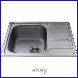 Single Bowl Inset Chrome Stainless Steel Kitchen Sink with Reversible Drainer