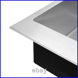 Single Bowl Inset Reversible Kitchen Sink Stainless Steel Sink Drainer Waste Kit