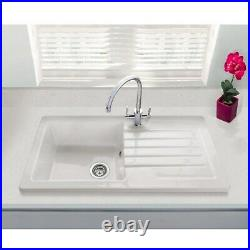 Single Bowl Inset White Ceramic Sink with Reversible Drainer Alexandra