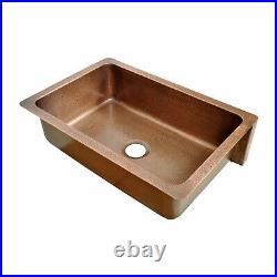 Single Bowl Vertical Parallel Lines Copper Kitchen Sink Belfast Butler Style
