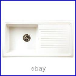 Single Bowl White Ceramic Kitchen Sink with Reversible Drainer Reginox RL304CW