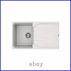 Single Bowl White Granite Composite Kitchen Sink with Reversible Drainer Regin