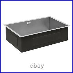 Single Square Bowl Stainless Steel Inset Kitchen Sink Handmade Basin Drainer Kit