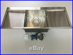 Single bowl double drainer modern design stainless steel kitchen sink & waste