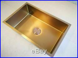 Single long Burnished rose gold copper stainless steel kitchen sink hand trough