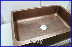 Sinkology Lange Farmhouse Hammered Copper 32 Single Bowl Kitchen Sink with Apron