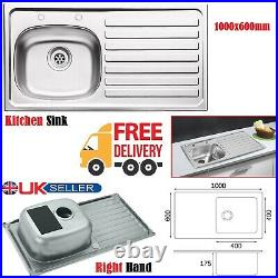 Sit on Sink 1.0 Bowl Kitchen Sink Stainless Steel Right Hand Drainer 1000 x600mm