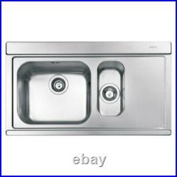 Smeg LI915SGD 90cm Iris Stainless Steel 1.5 Bowl Single Right Hand Sink RRP £399