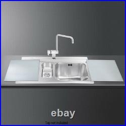 Smeg LI915SGS Iris 90cm St. Steel 1.5 Bowl Single Left Hand Drainer Sink RRP £399