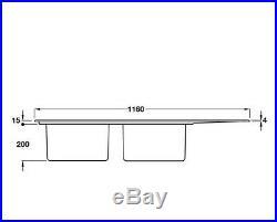 Smeg Mira Double Bowl Single Drainer Sink Stainless Steel LD116-2