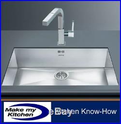 Smeg Quadra Large 1.0 Single Bowl Undermount Sink Stainless Steel VSTQ72-2