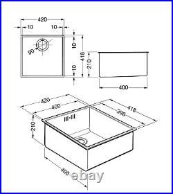 Smeg Quadra VSTQ40-2 1.0 Single Bowl Stainless Steel Undermount Sink Brand New