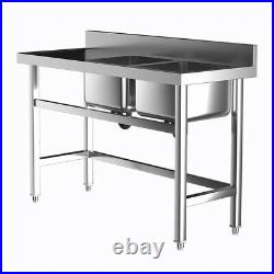 Stainles Steel Kitchen Sink Standing Catering with Bowl Side Platform Commercial