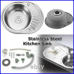 Stainless Steel 1.0 Single Bowl Reversible Round Inset Kitchen Sink Drainer