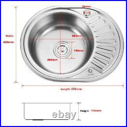 Stainless Steel 1.0 Single Bowl Reversible Round Inset Kitchen Sink Drainer New