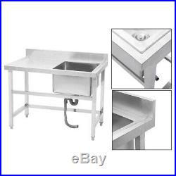 Stainless Steel Commercial Catering Kitchen Single Bowl Sink with Wash Platform