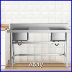 Stainless Steel Commercial Kitchen Catering Sink Prep Wash Table with 1/2/3 Bowl