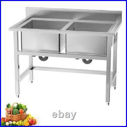 Stainless Steel Commercial Sink Wash Table Kitchen Catering Single Sink Bowl UK