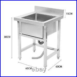 Stainless Steel Home Kitchen Sink Single Bowl Pot Wash Business Shop Commercial