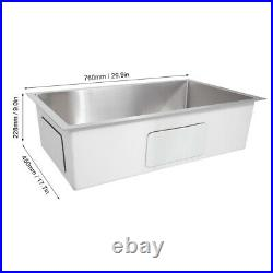 Stainless Steel Inset Kitchen Sink Large Single Bowl Reversible Drainer UK STOCK
