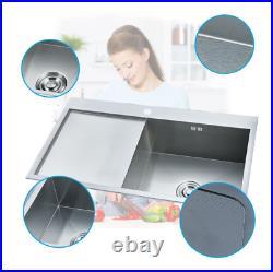 Stainless Steel Inset Kitchen Sink Single Bowl Reversible Drainer LH / RH