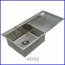 Stainless Steel Inset Square Kitchen Sink Single Bowl Reversible Drainer LH / RH