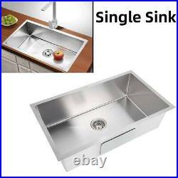 Stainless Steel Kitchen Household Sink Commercial Catering Single Bowl Strainer