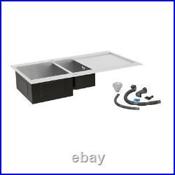 Stainless Steel Kitchen Sink Handmade Single/Twin/1.5 Bowl Drainer Waste Kits