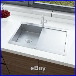 Stainless Steel Kitchen Sink Reversible Single Bowl with Drainer & Waste Kit