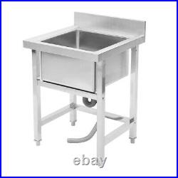 Stainless Steel Kitchen Sink Single Bowl Commercial Catering Wash Unit Drainer