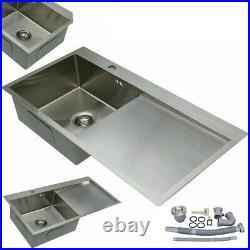 Stainless Steel Kitchen Sink Single Bowl Inset LH/RH Drainer Handmade Sink Waste