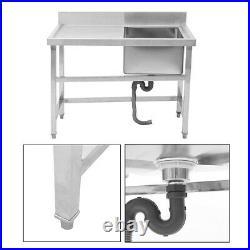 Stainless Steel Left Hand Drainer Single Bowl Restaurant Catering Kitchen Sink