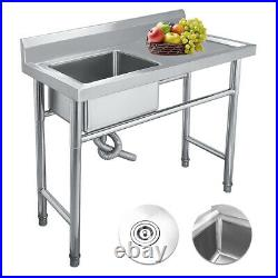 Stainless Steel Mount Standing Kitchen Sink Single Bowl Commercial Catering