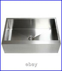 Stainless Steel Single Bowl Flat Apron Farmhouse Kitchen Sink 33 x 21 16 G