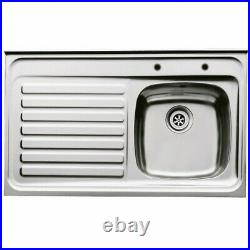 Stainless Steel Single Bowl Sit On Sink 1000mm x 600mm LHD Or RHD