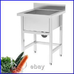 Stainless Steel Wash Hand Sink Kitchen Catering Sink Large Single Deep Bowl 80cm