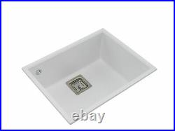 UNDERMOUNT Granite Composite Kitchen Sink, Single Bowl Waste Kit, 555 x 425