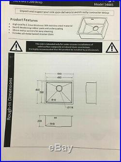 Undermount Kitchen Sink Single Bowl Stainless Steel, 1.2mm Thick, 540x440x200mm