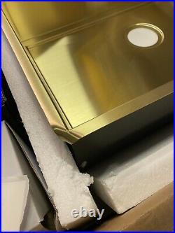 Undermount single bowl gold brass kitchen sink