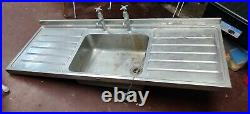 VINTAGE 1950's Double Drainer STAINLESS STEEL Metal Single Bowl Kitchen Sink