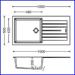 Vellamo Horizon Large Single Bowl Black Granite Composite Sink & Waste TD100L-MB