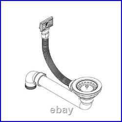VidaXL Granite Kitchen Sink Single Basin Undermount Basket Strainer Black/Grey
