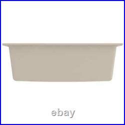 VidaXL Kitchen Sink with Overflow Hole Beige Granite Single Bowl Waste Kit