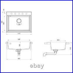 VidaXL Kitchen Sink with Overflow Hole Black Granite Single Bowl Waste Kit
