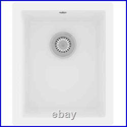 VidaXL Kitchen Sink with Overflow Hole White Granite Single Bowl Waste Kit