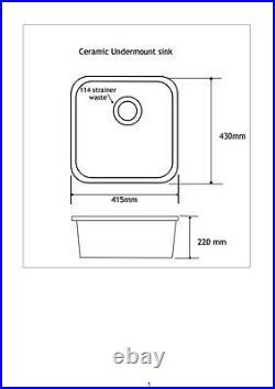 White Ceramic Kitchen 1.0 Single Bowl Sink Undermount or inset Installation