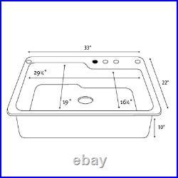 White Swanstone Dual Mount Composite 33x22x10 1-Hole Single Bowl Kitchen Sink
